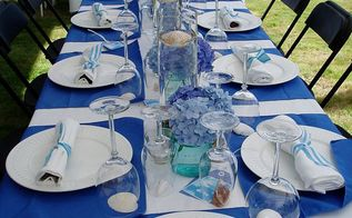 easy outdoor party decor, diy, home decor, outdoor living, repurposing upcycling, Create a colorful yet simple tablescape