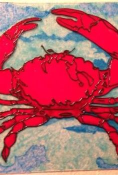 stain glass paint turns thrift store picture frame into crab art, crafts, painting, Finished painted glass ready to be framed