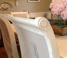 dining room table chairs painted white recovered monogrammed, chalk paint, dining room ideas, painted furniture, The finished project