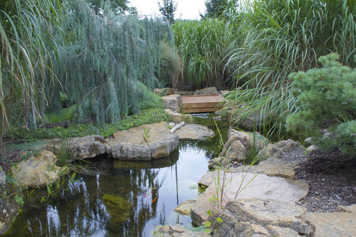 Pond and waterfall in suburban chicago hometalk for Wooden pond waterfalls
