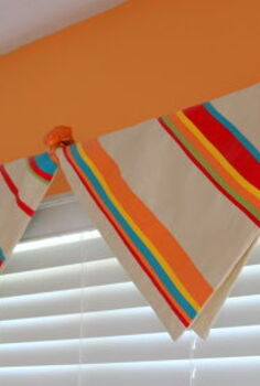 no sew window treatment, home decor, repurposing upcycling, window treatments, Fold pillow cover over drapery rod