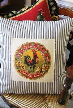 frenchy ticking pillow with vintage camembert label, crafts, Frenchy ticking pillow with vintage Camembert label