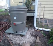 installing a manufactured rain harvesting barrel, curb appeal, diy, go green, Rain Barrel