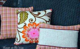 burlap insert pillow amp reversible throw pillows using new hgtv fabric, crafts, Reversible throw pillows and a burlap insert pillow using HGTV Home decor fabric