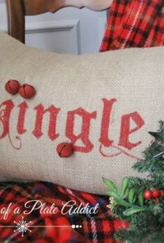 pottery barn inspired jingle pillow, seasonal holiday d cor, Burlap craft paint and over sized jingle bells are the main supplies for this fun holiday pillow