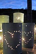 diy tin can lanterns, crafts, outdoor living, repurposing upcycling
