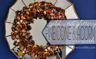 gold glittered pinecone and acorn fall wreath, crafts, seasonal holiday decor, wreaths