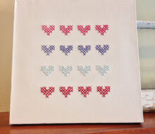 heart stitched canvas, crafts, seasonal holiday decor, valentines day ideas