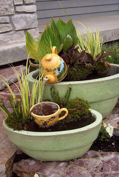 container water gardens, outdoor living, patio, ponds water features, Another whimsical fountain created with a teapot and cup