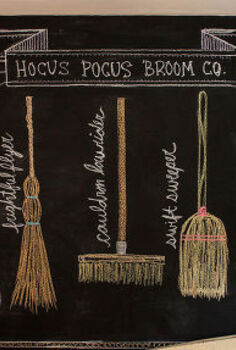 hocus pocus broom co fall inspired chalkboard design, seasonal holiday decor, Hocus Pocus Broom Co