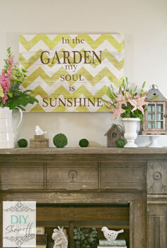 decorating the mantel for summer with a diy chevron sign, crafts, home decor, Distressed chevron garden sign Summer mantel