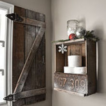 warm up your windows with an instant barn wood shutter, bathroom ideas, diy, doors, how to, repurposing upcycling, window treatments, woodworking projects