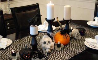 halloween dining room with dollar tree decorations, halloween decorations, seasonal holiday d cor, The black light up jack o lanterns were a cool find too