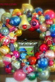 how to make a christmas ornament wreath, crafts, seasonal holiday decor, wreaths, Vintage Christmas Ornament Wreath