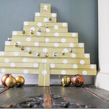 diy bead board christmas tree, crafts, seasonal holiday decor, DIY scrap wood Christmas tree