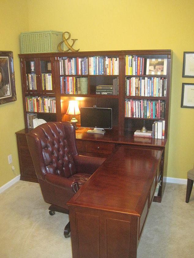 Home office makeover diy x base desk hometalk for Home alone office decorations