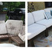 how to rehab your outdoor furniture and stained cushions, outdoor furniture, outdoor living, painted furniture, before and after outdoor furniture rehab