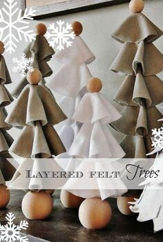layered felt christmas trees, crafts, seasonal holiday decor