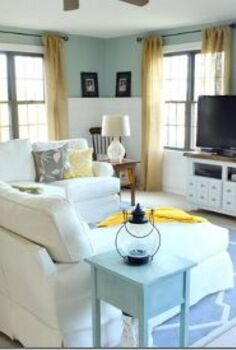 best of 2012 home project renovations room makeovers and tutorials, home decor, shelving ideas, Coastal cottage family room makeover from dark and traditional to light and airy