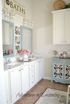 our master bath then and now, bathroom ideas, home decor, AFTER New mirrors painted cabinets AS Old White addition of an unused kitchen cabinet and addition of an accent chest