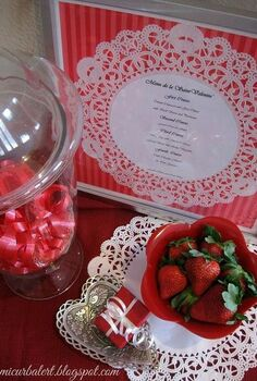 valentine s day doily menu display, crafts, seasonal holiday decor, valentines day ideas, Cute Valentines Day Menu Display