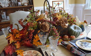 a fall tablescape pottery barn inspired, seasonal holiday decor, Centerpiece of fall silks and dried florals