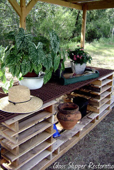 potting table made from pallets, diy, gardening, painted furniture, pallet, repurposing upcycling, woodworking projects, Awesome place to do some potting