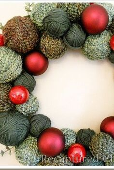 holiday yarn wreath, christmas decorations, crafts, seasonal holiday decor, wreaths, Extra yarn a few assorted sized styrofoam balls a few ornaments of your choice and you have a beautiful holiday wreath Very easy and pretty fun to do