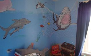 underwater mural, bedroom ideas, painting, Watch out jaws were catching you