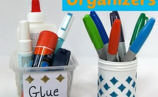 upcycled office organizing, craft rooms, crafts, decoupage, home office, organizing, repurposing upcycling, Repurposed containers and Mod Podge Stencils to make quick pretty organizers