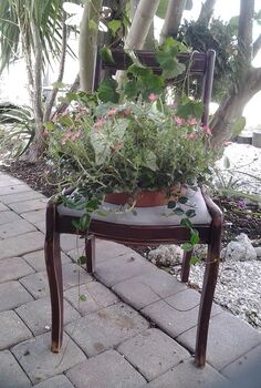 chair planter, gardening, repurposing upcycling
