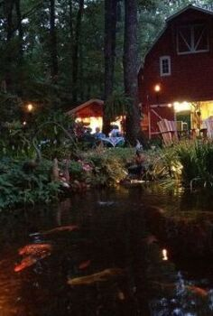 moonlight pond tour showcases custom water gardens amp landscape lighting in, outdoor living, ponds water features, Outdoor Rooms Fire Pits Outdoor Kitchens Custom Water Gardens and more on the Moonlight Pond Tour This AWESOME party barn is on the tour Y all Come