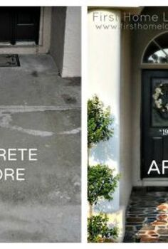 stenciled stone porch, concrete masonry, curb appeal, painting, Before and After Front Door Walkway Transformation