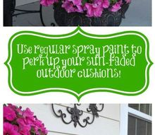 diy experiment use regular spray paint on outdoor cushions, outdoor furniture, outdoor living, painted furniture, reupholster