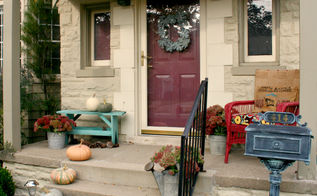a simple fall porch, porches, seasonal holiday decor, Just a simple arrangement of pumpkins and buckets of Sedum