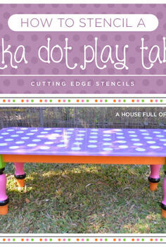how to stencil a polka dot play table, bedroom ideas, crafts, painted furniture