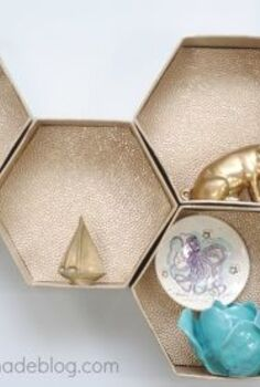 diy hexagon wall shelves the easy way, diy, how to, shelving ideas, These gold honeycomb wall shelves are easy to make if you know the secret