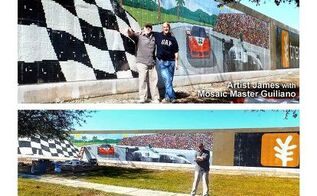 what can be done with mosaics, tiling, James R Hahn Productions Trend at the Track mural in mosaics Goodbye ugly concrete wall hello beautiful mosaics