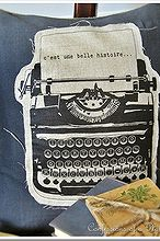 my linen and burlap vintage french typewriter pillow, crafts, home decor, Vintage French typewriter pillow