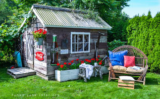 a collection of all my outdoor sitting areas, home decor, outdoor living, patio, porches, And last but not least the willow loveseat got moved beside the garden shed this year more at