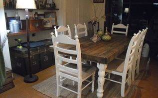 pallet wood farmhouse dining table, painted furniture, Im so happy with how it turned out and it didn t cost me a cent