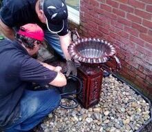 new water feature urn, outdoor living, ponds water features, The boys installing the hose