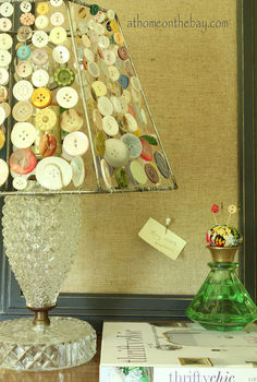 diy button lampshade, crafts