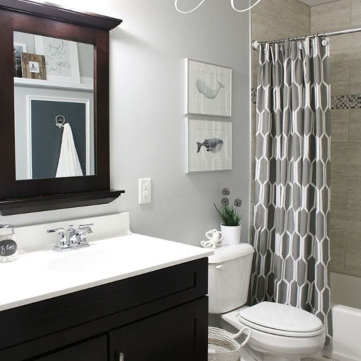 Shared boys guest bathroom hometalk for Boys bathroom designs