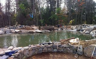 the construction and design of a large pond and waterfalls, landscape, outdoor living, ponds water features, pool designs