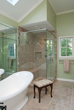 master bath remodel, bathroom ideas, doors, home decor, This bathroom features a large double slipper tub spacious shower stall with bench seat and dark stained mahogany vanity cabinets with furniture feet