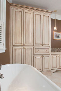 master bath remodel, bathroom ideas, home decor, This is the view when soaking in the double slipper tub There is an abundance of storage cabinetry for linens the television and a built in safe In the middle is the coffee bar with its own sink and pendant lighting