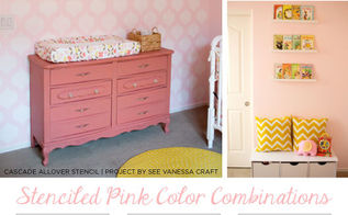 what color goes with pink stenciled pink color combinations, bedroom ideas, painting, wall decor