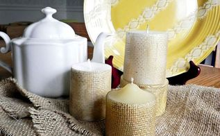 pottery barn inspired golden burlap candles, crafts, seasonal holiday decor, Decorate your fall table with texture and shine