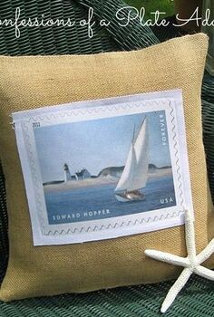 summery burlap and canvas sailboat pillow, crafts, Summery burlap and canvas sailboat pillow